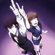 Psycho Pass x Death Parade crossover. Kougami Shinya as Decim & Tsunemori Akane as Kurokami no Onna / Chiyuki