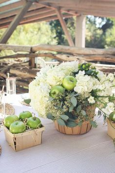Rustic & Homemade Apple of My Eye Baby Shower // Hostess with the Mostess® Apple Centerpieces, Apple Decorations, Diy Wedding Decorations, Floral Centerpieces, Floral Arrangements, Centrepieces, Flower Arrangement, Wedding Centerpieces, Baby Shower Verde