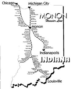 Monon Railroad Map | See a great map of the Monon Railroad. Us Railroad Map, Train Map, Train Route, Train Travel, Michigan City Indiana, System Map, Chicago Map, Metro Map