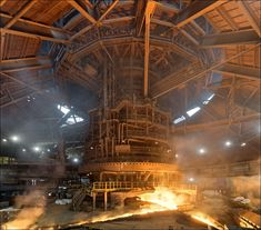Circular casting house of blast furnace no.6 at NLMK Lipetsk integrated plant. Discover more images from this glorious mill at my website: viktormacha.com/galerie/nlmk-lipetsk-292/  Lipetsk, Russia 09/2015