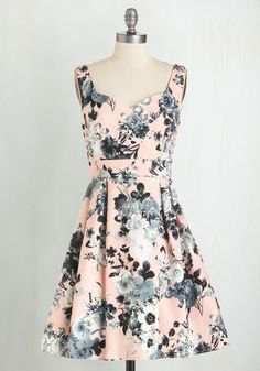 Contrast as You Can Dress - Cotton, Woven, Pink, Multi, Floral, Print, Special Occasion, Graduation, Vintage Inspired, 50s, 60s, Spring, Sweetheart, Mid-length, Sundress, Fit & Flare, Pastel