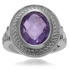 Journee Collection Sterling Silver 1 /8 ct Amethyst Ring