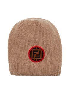 Fendi FF Logo Patch Beanie - Farfetch 2ae2d6f6845d