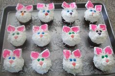 Bunny Cupcakes- cute and easy! I have made these before they turned out very cute:)