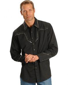 Scully Studded Black Retro Western Shirt
