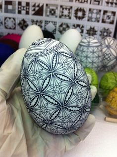 Initial waxing on Ukrainian goose egg by Theresa Somerset of Precision Studio http://www.precisionartstudio.com