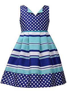 Little Girls 4-6X Blue/White/Green Dots Stripes Shantung Fit Flare Dress, Bonnie Jean, Blue, 5 Gerson http://www.amazon.com/dp/B00Y2HFGGA/ref=cm_sw_r_pi_dp_NmPUvb0YCW7BM