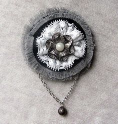 Jeans boho flower brooch with small chain White by ItMyLittleShop