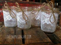 Mason Jar Lace Candle Holder  Vase  Favor  by loveinamasonjar