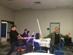 Nathan Fillion, Alan Tudyk, and Sean Astin — Backstage Lightsaber Fight