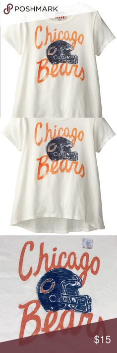 Chicago Bears Game Day Glitter Tee Brand New Officially Licensed with tags. This cute glittery Tee is perfect for any young Bears fan.  Super soft 100% cotton made by Junk Food.  Features a very slight Hi-low cut.  (XL)883491371787 Junk Food Clothing Shirts & Tops Tees - Short Sleeve