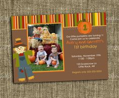 PRINTABLE INVITATIONS Fall Birthday by MemorableMomentsSt on Etsy - Kadyn 1st Birthday