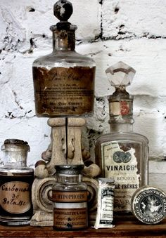 bottles/decanters with labels