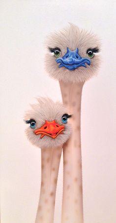 Brutus et Suzette by Céline Brodeur Funny Birds, Whimsical Art, Animal Paintings, Bird Art, Rock Art, Pet Birds, Cute Art, Painting & Drawing, Watercolor Art