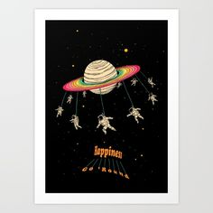 - Happiness Go 'Round - Art print by Tang Yau Hoong  Collect your choice of gallery quality Giclée, or fine art prints custom trimmed by hand in a variety of sizes with a white border for framing.