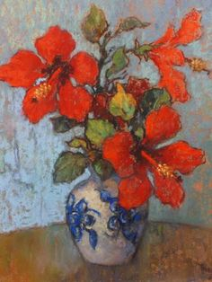 Conrad Theys (South Africa, - Still Life (Hibiscus), 2004 Painting Still Life, Still Life Art, Paintings I Love, Abstract Flowers, Watercolor Flowers, Watercolor Art, Flower Vases, Flower Art, South African Art