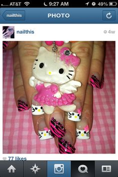 For my friends Janessa, Tay Tay, and Alexis!!! :) Hello Kitty Nails!!!! ;)