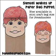 Samuel Paper Bag Puppet Craft for Children. This craft comes in two sizes: the regular sized lunch bag size and mini paper treat bags for preschoolers.