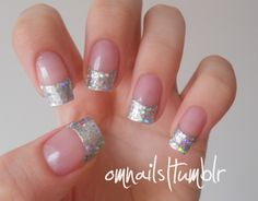 I love these nails.  Blingy, but not too much to wear all week to work.