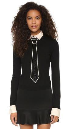 Alice + Olivia Tie Embellished Sweater - Black/Cream