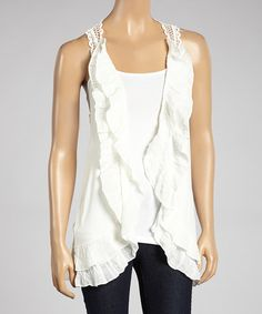 This White Ruffle Open Cardigan is perfect! #zulilyfinds