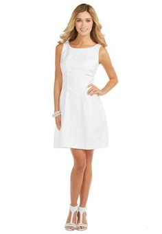 Cato Fashions White Jacquard Fit and Flare Dress #CatoFashions. #CatoSummerStyle