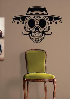 Mexican Sugar Skull Art Decal Sticker Wall Vinyl - orange