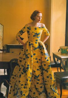 This dramatic saffron yellow floral gown would make a stunning wedding dress. Vogue, October 2013.