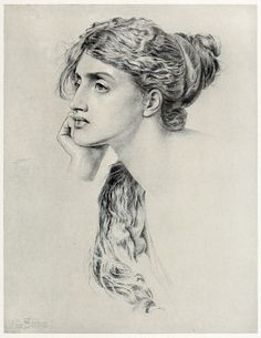 Contemplation, Frederick Sandys, from The graphic arts of Great Britain, by Malcolm C. Salaman & Charles Holme, London, Paris, New York, 1917.