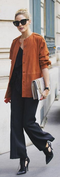 Who made Olivia Palermo's brown suede jacket, black sunglasses, cut out lace up boots, and tan handbag?