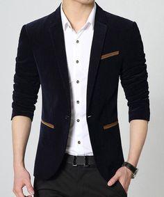 Color Block Pocket Hemming Lapel Long Sleeve Slimming Stylish Velveteen Blazer For Men