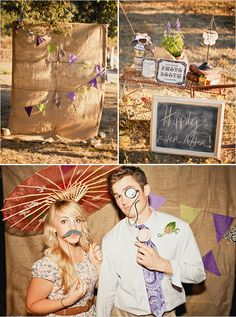 Burlap photo booth (and BTW, I LOVE this wedding)
