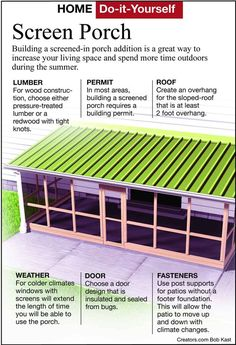How to Build an Amazing Screened-In Porch Yourself Check out How to Build an Amazing Screened-In Por Screened In Porch Diy, Screened Porch Designs, Diy Screen Porch, Screened Porch Decorating, Front Porch, Br House, House With Porch, House Deck, Back Patio