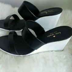 10%⤵New In Box: Kate Spade Abilene Wedge Sandal Double strap wedge. Black leather, white rubber. New in box kate spade Shoes Wedges