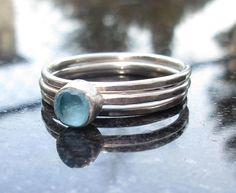 Raw Blue Apatite Rings Size 8 Raw Stone Ring Raw Crystal