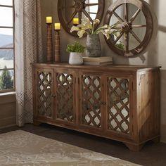Hamptons Quatrefoil Reclaimed Wood Mirrored Buffet Sideboard Cabinet by iNSPIRE Q Artisan (Buffet Cabinet), Brown
