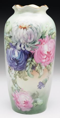 Imperial vase, Austrian, porcelain shape with nicely painted and colorful peonies, signed Rose Paruseki.