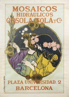 RIQUER E YNGLADA, Alexandre de (Calaf, 1856 – Palma de Mallorca, 1920). 'Mosaicos hidráulicos Órsola Solá y Cia.' Barcelona, Lit. Utrillo & Rialp, 1898. 132 x 94 cm (Fuente: Biblioteca Nacional de Catalunya)