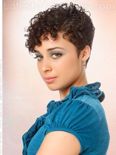 """Go Short: 15 Incredibly Chic Pixie Hairstyles To Try — Cropped Curls (Latest-Hairstyles.com) (""""Curly girls can rock pixie hairstyles too! Leave the top a bit longer for curl definition and styling options."""") (Product Recommendation: """"Try Kinky Curly's Curling Custard for definition, hold and shine. Bonus? It conditions your curls as well!"""")"""