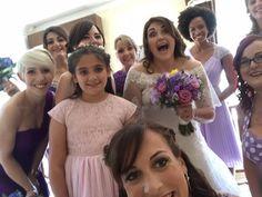 Selfie before walking down the aisle! Purple bridesmaids