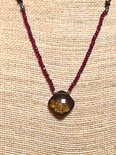 Faceted Square Smokey Quartz Pendant on Garnet Beads with Leather Cord by SuzanneImagines on Etsy Cowboy Pictures, Tiger Eye Beads, Smokey Quartz, Vintage China, Leather Cord, Necklace Lengths, Garnet, Pendant, Etsy