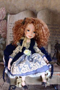 Купить Августа / Augusta - темно-синий, бежевый, голубой, рыжий, кукла ручной работы
