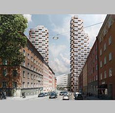 Tors Torn, torres residenciales by OMA (Estocolmo, Suecia) #architecture