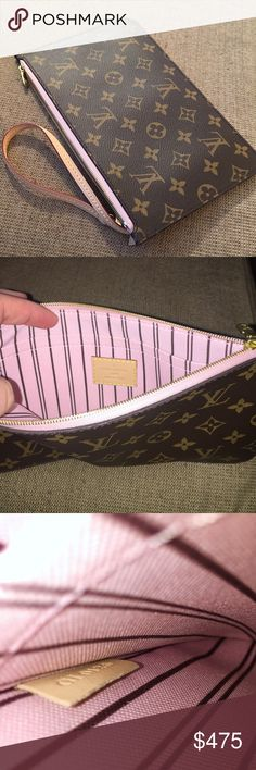 Rose Ballerine Neverfull Pouchette This is in like new condition, 100% authentic and very rare!  I have a few neverfulls and do not need extra pouchettes.  My price is firm.  $350 on ️️ with posh shipping. Louis Vuitton Bags Clutches & Wristlets