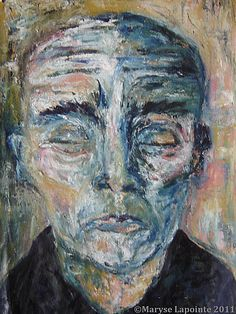 Portrait aux yeux fermés – 2011 Huile/toile 44 x 32 po. (112 x 81 cm) 1500$ Portraits, Painting, Art, Painted Faces, Oil On Canvas, How To Paint, Eyes, Board, Art Background