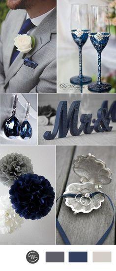 www.viajeslunamiel.com ♥ | #Ideas #Viajes #LunaMiel #Love #Amor #Boda #Wedding #NosCasamos #CelebraElAmor #Juntos #Novios #Azul #Color navy blue and grey wedding color ideas for 2017