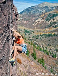 Jessa Younker on the first pitch of the five-five pitch Superstein (5.13a), Redstone, Colorado.