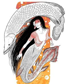 The already over but I think it's okay if I post another one, right? This time I decided to do a Brazilian mermaid, the Iara from… Fantasy Creatures, Mythical Creatures, Sea Creatures, Siren Mermaid, Mermaid Art, Character Inspiration, Character Design, Mermaid Parade, Mermaid Illustration