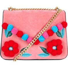 SKINNYDIP Laureli pom pom-embellished cross-body bag ($44) ❤ liked on Polyvore featuring bags, handbags, shoulder bags, red crossbody handbags, red cross body purse, embellished handbags, red handbags and red purse