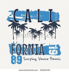 Vector illustration on the theme of surfing and surf in California, Venice beach. Vintage design. Grunge background. Typography, t-shirt graphics, slogan, print, poster, banner, flyer; postcard